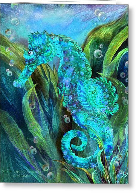 Seahorse 2 - Spirit Of Contentment Greeting Card by Carol Cavalaris
