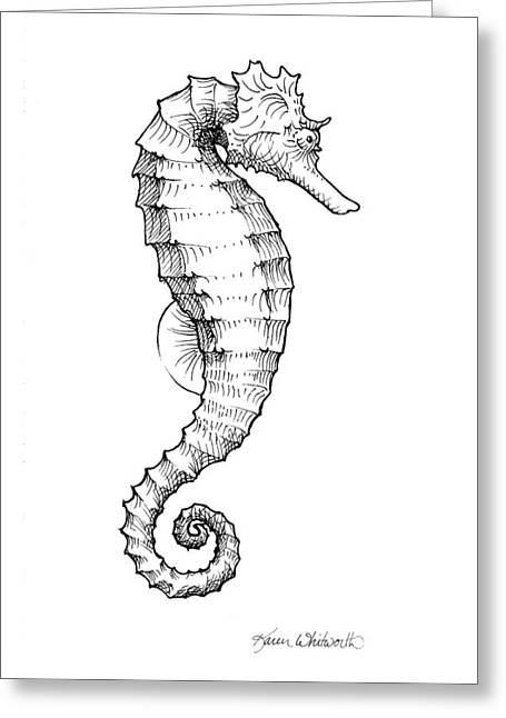 Seahorse Black And White Sketch Greeting Card by Karen Whitworth