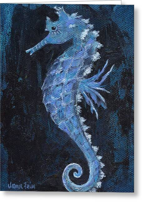 Greeting Card featuring the painting Seahorse by Jamie Frier