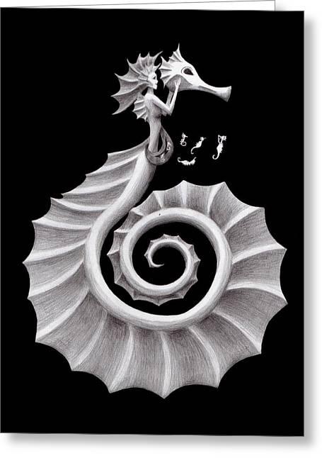 Seahorse Siren Greeting Card by Sarah Krafft