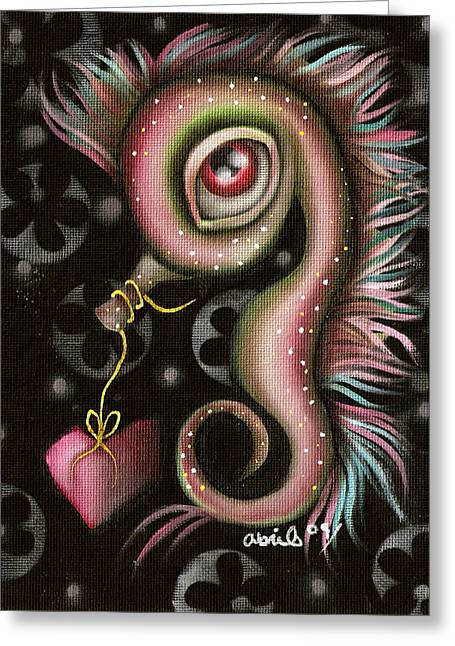 Seahorse With Heart Greeting Card by  Abril Andrade Griffith