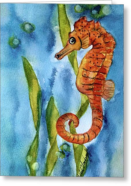 Seahorse With Sea Grass Greeting Card