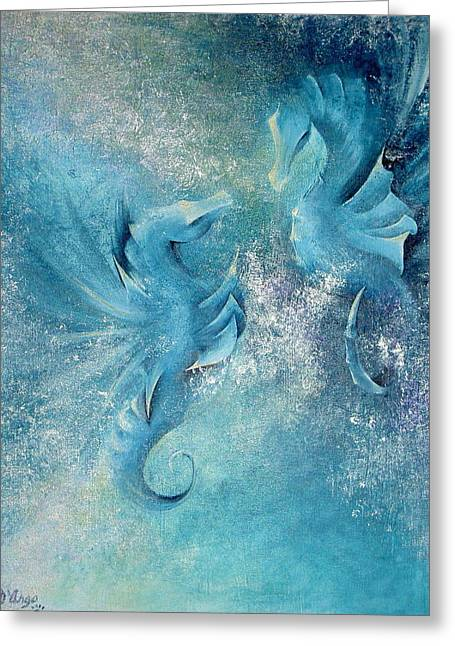 Greeting Card featuring the painting Seahorses In Love 1 by Dina Dargo