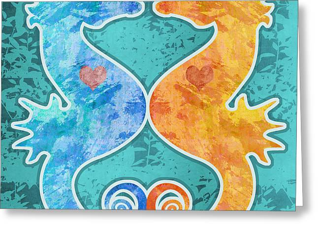Seahorses Greeting Card by Mary Ogle
