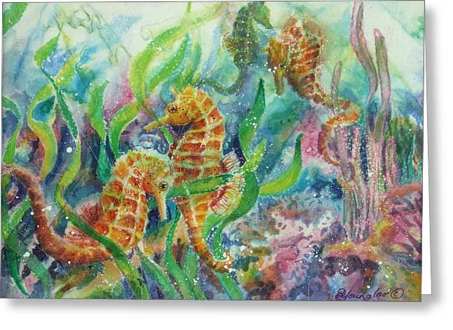 Seahorses Three Greeting Card by Deborah Younglao
