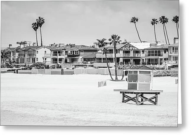 Seal Beach Black And White Panorama Picture Greeting Card by Paul Velgos