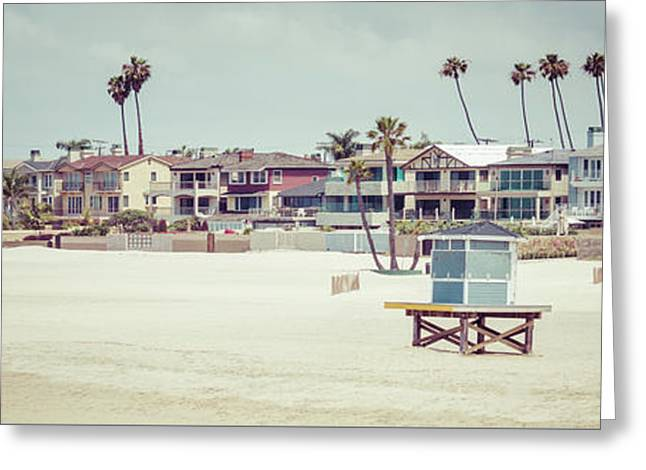 Seal Beach California Retro Panorama Photo Greeting Card