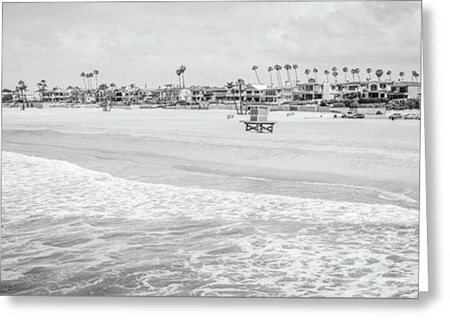 Seal Beach Panorama Black And White Photo Greeting Card