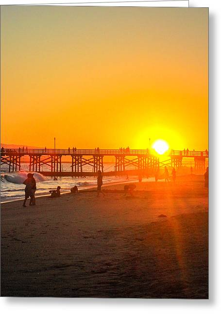 Seal Beach Pier Sunset Greeting Card