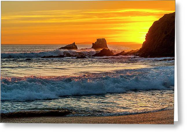 Seal Rock Sunset Greeting Card by Kelley King