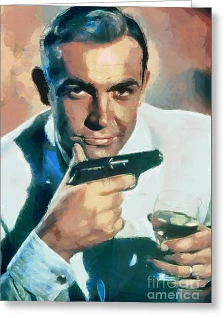 Sean Connery Greeting Card by Sergey Lukashin