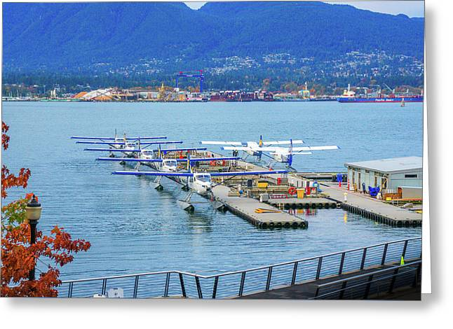 Seaplanes On Vancouver Harbor Greeting Card by Art Spectrum