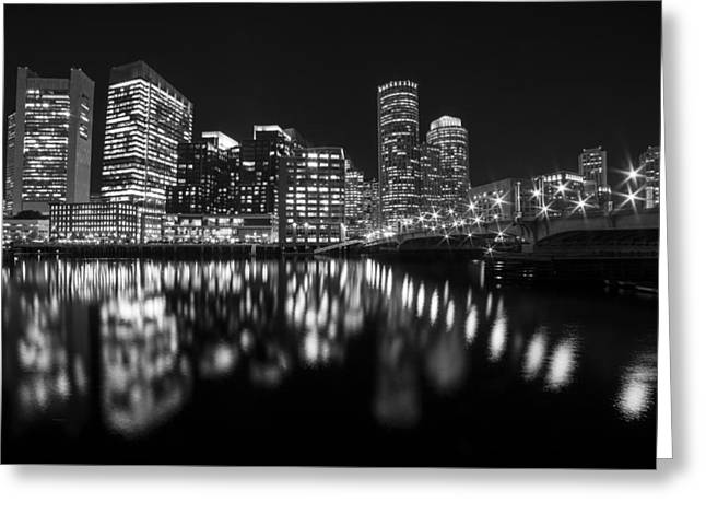 Seaport Bridge Boston Skyline Reflection Boston Ma Black And White Greeting Card by Toby McGuire