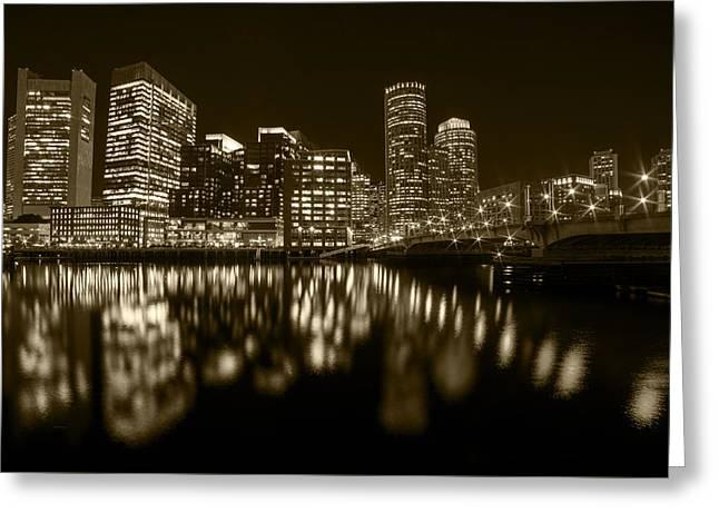 Seaport Bridge Boston Skyline Reflection Boston Ma Sepia Greeting Card by Toby McGuire