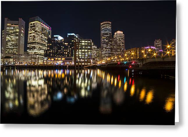 Seaport Bridge Boston Skyline Reflection Boston Ma Greeting Card