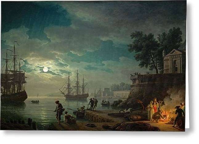 Seaport By Moonlight Greeting Card