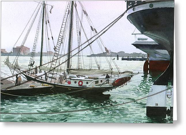 Greeting Card featuring the painting Seaport New York by Sergey Zhiboedov