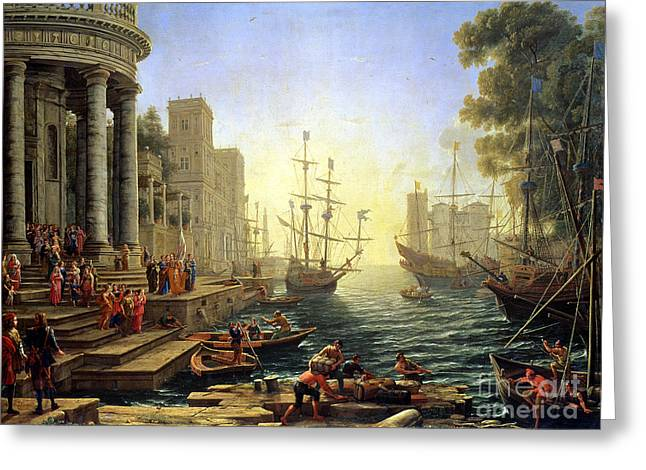 Seaport With The Embarkation Of Saint Ursula  Greeting Card