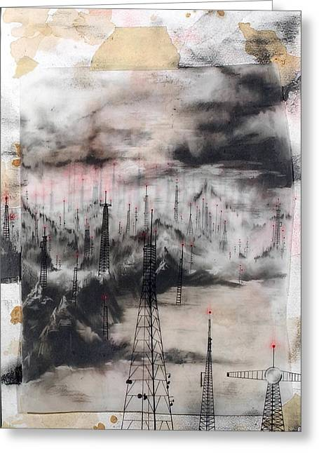 Transmission Drawings Greeting Cards - Search and Destroy Greeting Card by Beth Anne Martin