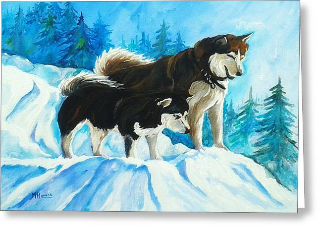 Searching Huskies Greeting Card by Marla Hoover