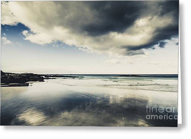Seas And Storm Cloud Reflections Greeting Card by Jorgo Photography - Wall Art Gallery