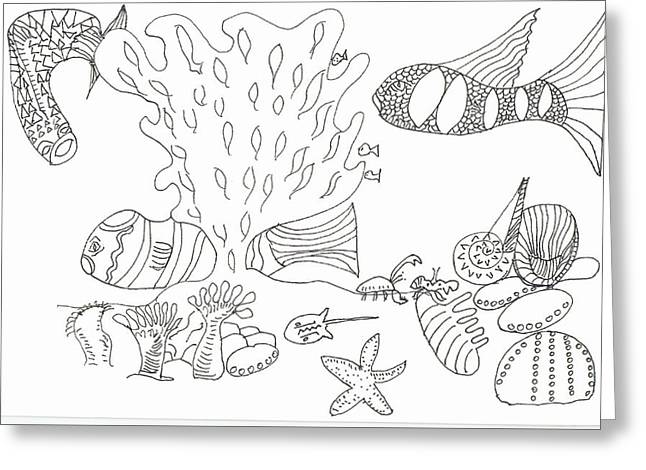 Seascape And Corals Greeting Card
