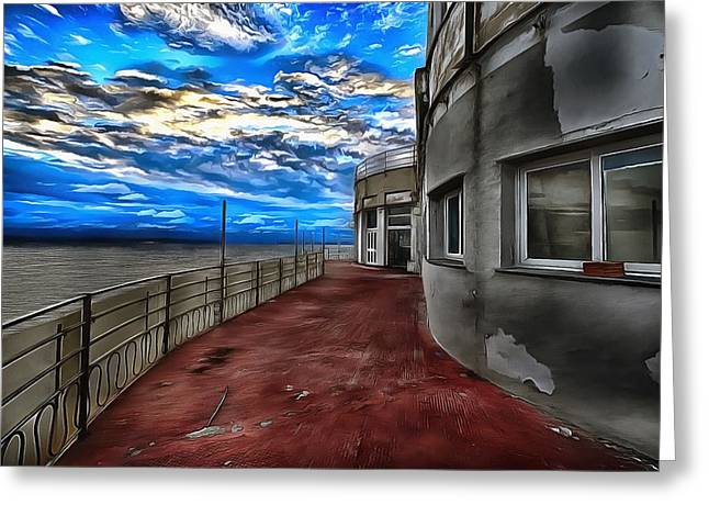 Seascape Atmosphere - Atmosfera Di Mare Dig Paint Version Greeting Card