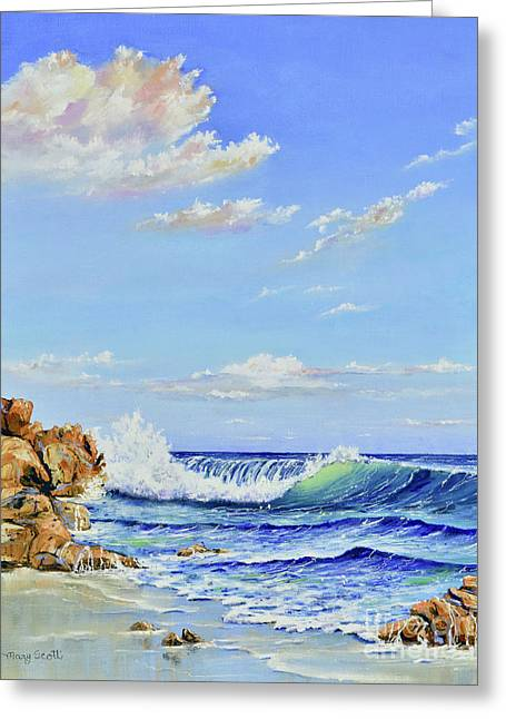 Greeting Card featuring the painting Seascape Beach by Mary Scott