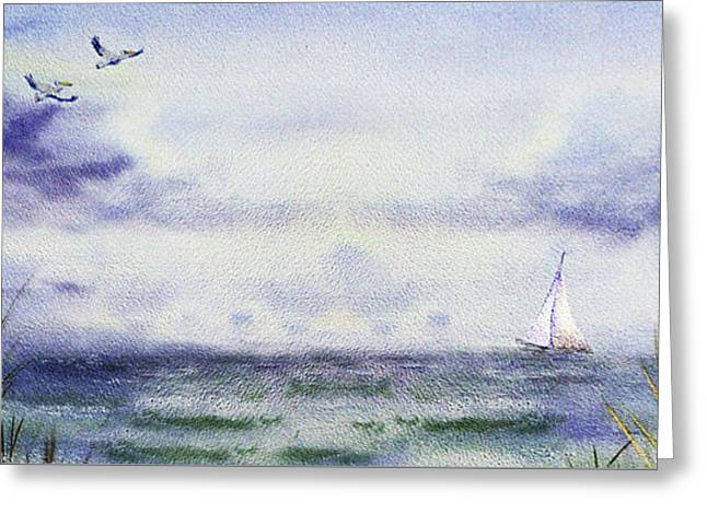 Seascape Elongated Painting With Sailboat Greeting Card by Irina Sztukowski