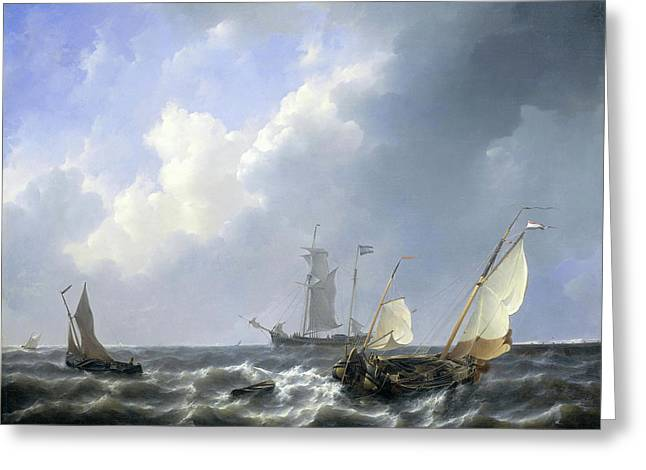 Seascape From The Zeeland Waters Greeting Card by Petrus Johannes Schotel