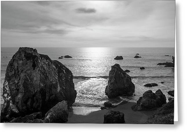 Seascape Jenner California IIi Bw Greeting Card