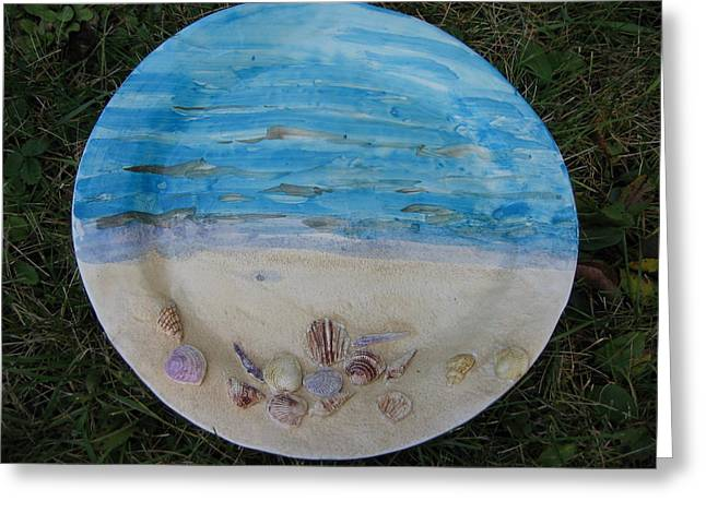 Sand Ceramics Greeting Cards - Seascape Greeting Card by Julia Van Dine