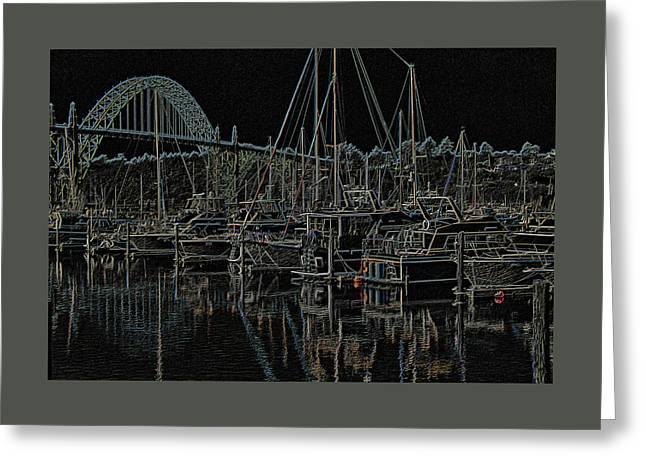 Yaquina Bay Neon Greeting Card by Thom Zehrfeld
