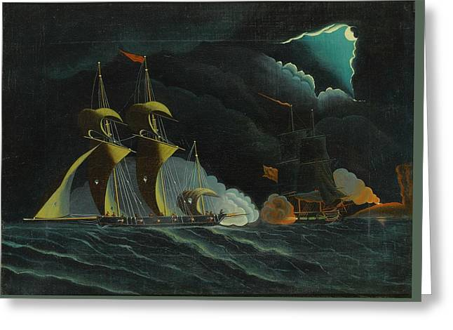 Seascape, Night Scene With Pirate Ships Greeting Card by Thomas Chambers