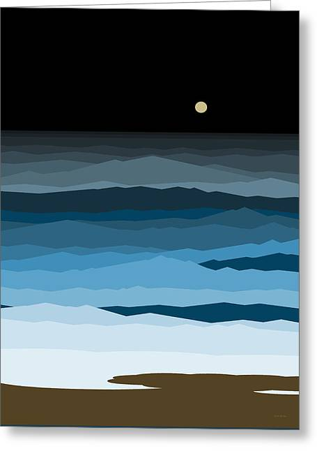 Seascape - Night Greeting Card by Val Arie