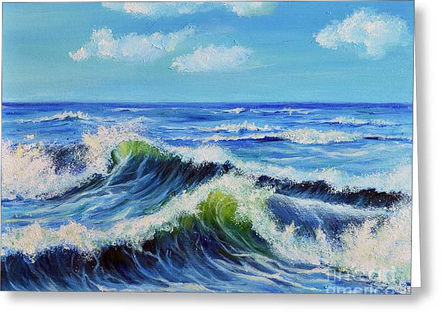 Greeting Card featuring the painting Seascape No.3 by Teresa Wegrzyn