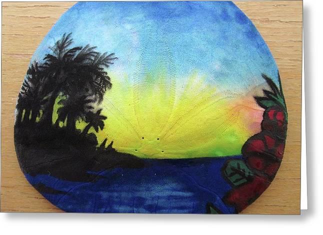 Seascape On A Sand Dollar Greeting Card by Mary Ellen Frazee