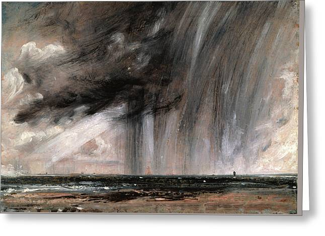Seascape Study With Rain Cloud Greeting Card by John Constable