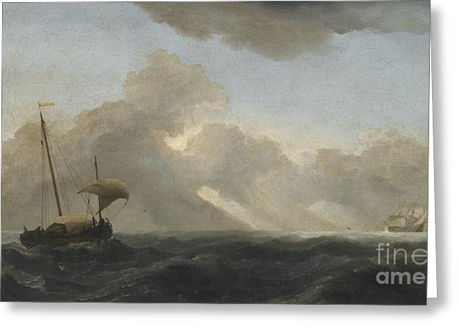 Seascape With Passing Storm Greeting Card by MotionAge Designs