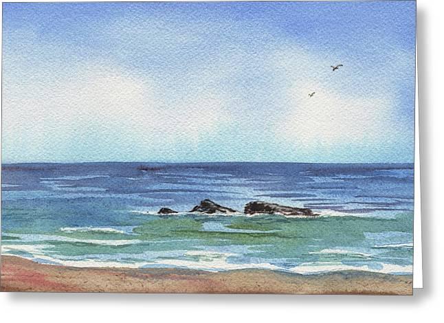Seascape With Three Rocks Greeting Card by Irina Sztukowski