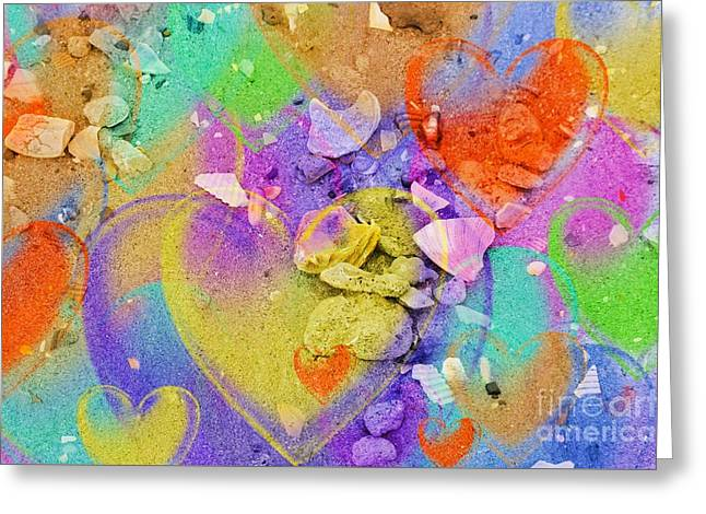 Seashell Stones And Hearts Greeting Card by Kathleen Struckle