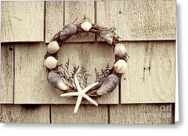 Seashell Wreath Greeting Card by Juli Scalzi