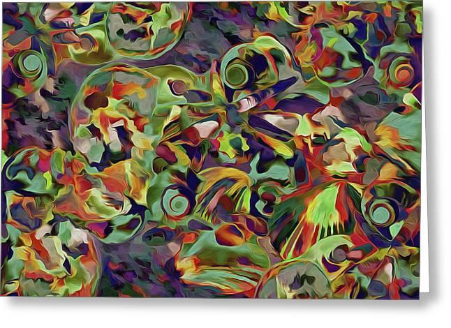 Greeting Card featuring the mixed media Seashells Abstract 14 by Lynda Lehmann