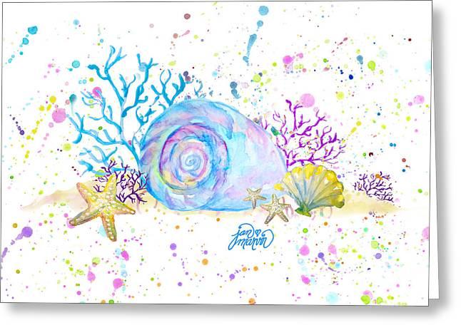 Seashells And Coral Watercolor Greeting Card