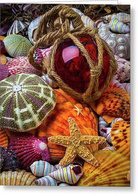 Seashells And Glass Float Greeting Card by Garry Gay