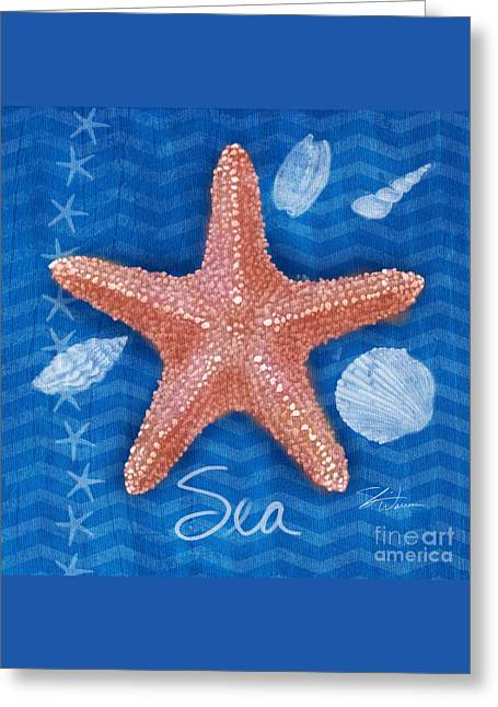 Seashells On Blue-sea  Greeting Card by Shari Warren