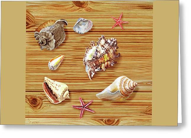 Seashells On Board Greeting Card by Irina Sztukowski