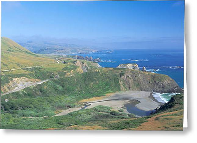 Seashore Along Highway 1, Mendocino Greeting Card by Panoramic Images