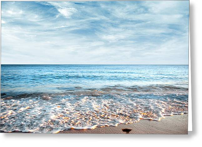 Foot-step Greeting Cards - Seashore Greeting Card by Carlos Caetano