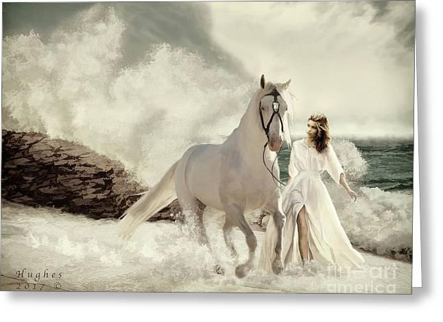 Greeting Card featuring the digital art Seashore Frolic by Melinda Hughes-Berland